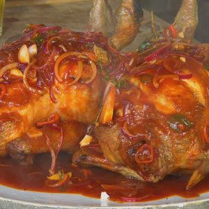 BEER CAN CHICKEN WITH RED ONION BBQ SAUCE