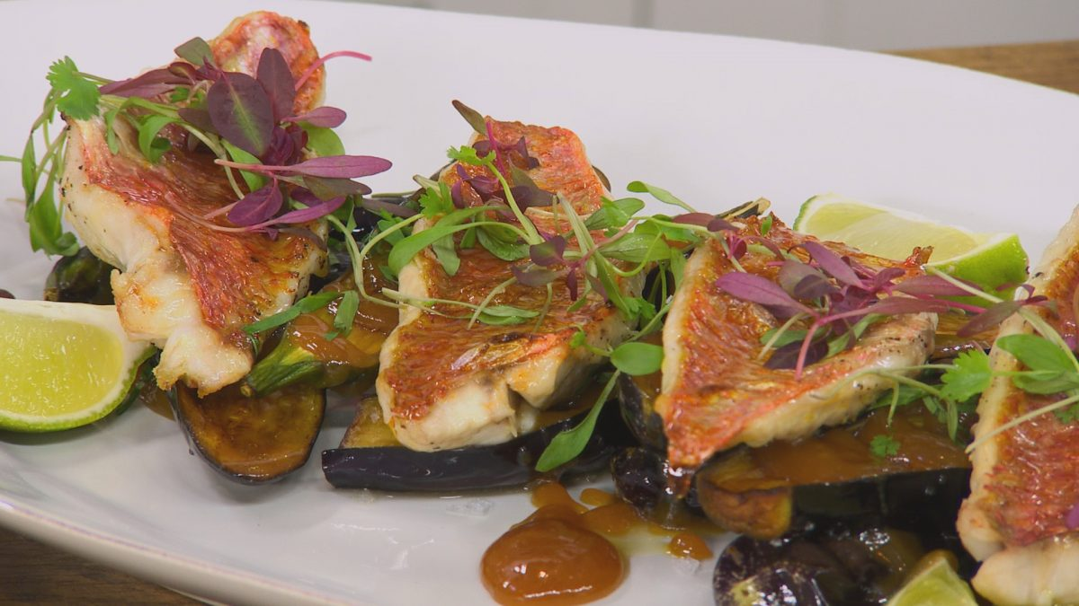 Red Mullet With Deep Fried Miso Aubergines James Martin Chef