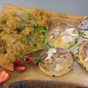 GRIDDLE CAKES WITH ELDERFLOWER FRITTERS