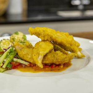 SEA BREAM TEMPURA WITH CUCUMBER RELISH AND POTATO SALAD