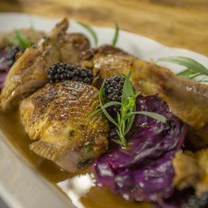 PHEASANT WITH MUSTARD SAUCE AND RED CABBAGE