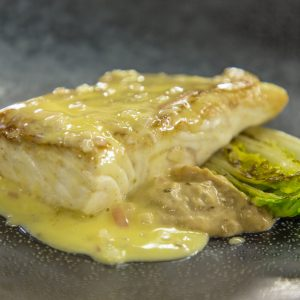 HALIBUT WITH SAUTEED LETTUCE